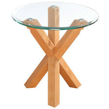 Solid Oak & Glass End Lamp Small Round Side Table