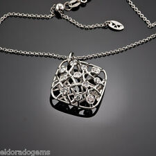 HEARTS ON FIRE NECKLACE  0.62 CT DIAMOND BROCADE SQUARE PENDANT 18K WHITE GOLD