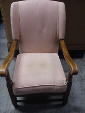 Wingback Upholstered Armchair with Wooden Frame and Arms.