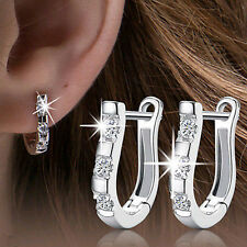 Sweet Wholesales 1 Pair Sterling Silver Nice White Gemstones Women Hoop Earrings