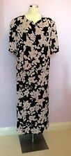 VINTAGE JAEGER PINK & BLACK TOP &  LONG SKIRT SUIT SIZE 18 SMALL FIT