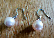 925 Sterling Silver 12mm Oyster Pearl Drop Hook Earrings Bridal