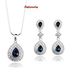 Antique Silver Blue Sapphire Swarovski Crystal Necklace Earring Bridal Set XS9