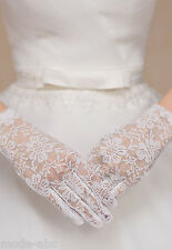 Braut Handschuhe Hochzeit Abend Party Blumen Spitze weiß