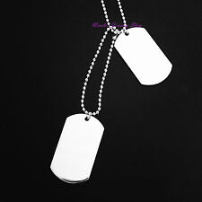 Super Cool Titanium Stainless Steel Large Engravable Dog Two Tags Army Necklace