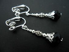 A PAIR OF SILVER PLATED  BLACK CRYSTAL   BEAD CLIP ON EARRINGS. NEW.
