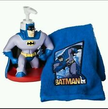 Batman Bathroom Set Fingertip Towel Lotion Soap Dispenser Blue Kids Boys