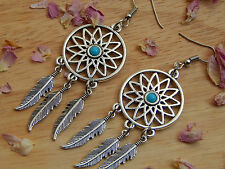 dream catcher earrings with turquoise stone in silver plated metal