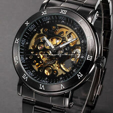 Men's Black Skeleton Dial Automatic Auto Mechanical Stainless Steel Wrist Watch