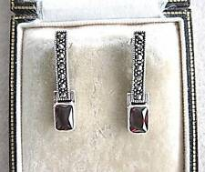 Elegant Deco Design Garnet CZ & Marcasite Silver Drop Earrings