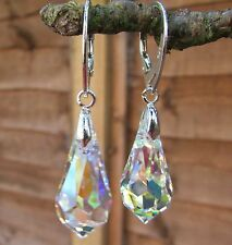 925 STERLING SILVER EARRINGS WITH SWAROVSKI ELEMENTS- Crystal AB 22mm Drop