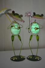 Frosch Metall Garten Figur Deko Set mehrfarbig wetterfest groß 34 cm fluoresz.