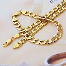Real 24k Yellow Gold GF Mens 8mm Necklace Bracelet Set Chain Jewelry