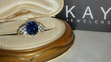 Kay Jewelers Kays 18k yellow gold vermeil Sterling silver blue sapphire cz ring