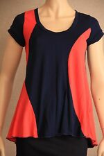 METALICUS Blue & Orange Cap-Sleeve Stretchy Swing TOP One-Size OSFM *Excellent*