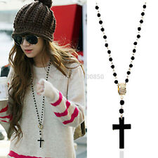 New Fashion Mens/Womens Black Rosary Bead Long Sweater Cross Pendant Necklace