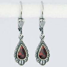 Ohrringe Ohrhänger Silber Swarovski Kristall Tropfen – Vintage retro – Siam rot