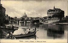 Roma Rom AK 1925 Castel S. Angelo S. Pietro dal Tevere Blick Burg Fischer Fluss