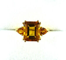 3.40ctw Natural Citrine Solid 10k Yellow Gold Three Stone Ring