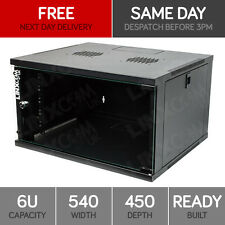 """6U 19"""" Network Cabinet Rack Wall Mounted 540*450mm Black Data Comms Patch Panel"""