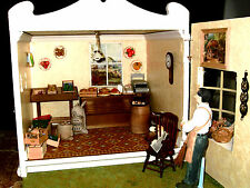 WOODEN MODEL OF GREENGROCER'S SHOP. COMPLETELY FURNISHED. DOLLHOUSE. MINIATURE