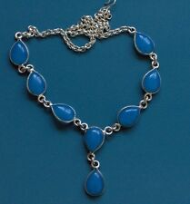 "CHALCEDONY TEAR DROP STERLING SILVER PLATED 16"" OF FUN NECKLACE"