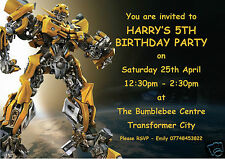 10 Personalised Transformers Bumblebee Children Birthday party invitations