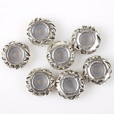 15pcs 152818 Charms Carved Silver Tone Alloy Rubber Stopper Beads Fit Bracelet