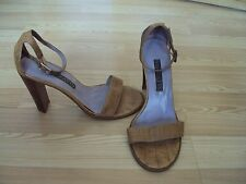 Barratts Tan Ankle Strap Heels Size 6