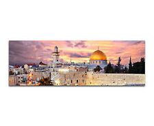 150x50cm - Skyline Jerusalem Temple Panorama Wandbild Leinwand Keilrahmen