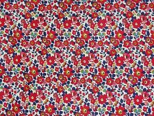 "LIBERTY PRINTS ""BETSY ANNE"" PER HALF METRE 50cm cotton tana lawn fabric RED/BLUE"