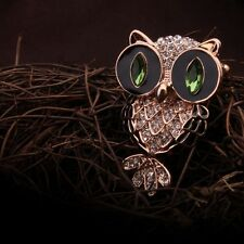 18k rose gold plated zircon crystal luxury owl brooch. gift boxed.
