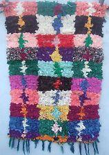 Vintage moroccan boucherouite children's room/bedside rug108 x 70 & 67cm