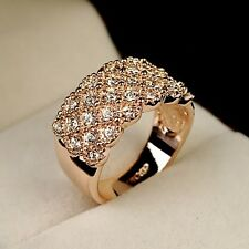 Rose Gold gp Round Cut lab Diamond Pave Wide Wedding Party Fashion Ring Size 6