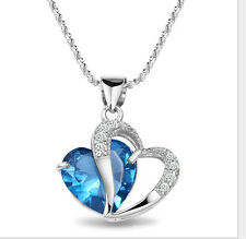 Seling 925 Sterling Silver CZ 2 - Heart Lady Necklace Pendant Stone is Blue