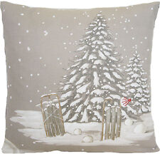 Christmas Tree Cushion Cover Winter Snow White Grey  Fabric Scatter 35cm x 35cm