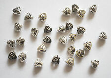 40 Metal Antique Silver Heart Spacer Beads - 6mm
