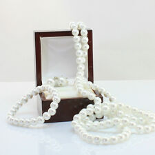 Long Pearl Necklace 130cm with Free Matching Pearl Bracelet and Earrings Set