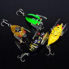 4pcs Plastic Popper Fishing Lures Bass CrankBaits Cicada Tackle 4cm/6.4g 3D eye