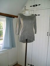 H&M grey knitted tunic top with frill at hem size Small Good condition