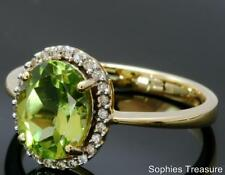 Natural Oval Peridot & Diamond Victorian Engagement Ring Solid 18k Yellow Gold M
