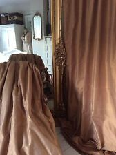Opulent sumptuous GOLD 100% SILK thermal blackout curtains Can b interlined Huge