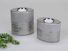 Modernes 2-teiliges Teelichthalter Set aus Keramik silber Höhe 9 + 12 cm