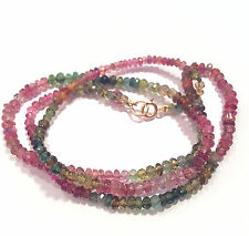 tourmaline necklace solid 14k yellow gold pink green 18""