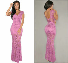 New Ladies Elegant Nude Illusion Lace Maxi Evening Dress Purple Party Size 10-12