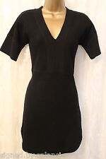 Karen Millen Black Merino Wool V Neck Aline Tunic Essential Jumper Dress L 14 42