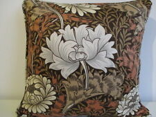 Cushion Cover Vintage Morris Sanderson Cotton Sateen Fabric Chrysanthemum Brown