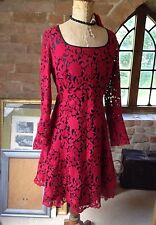 Next Vintage 50s Style Red Flocked Lace Wedding Party Dress Goth Steampunk 10P