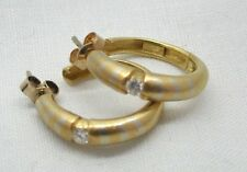 Fabulous Heavy Quality 18ct Yellow And White Gold Diamond Set Hoop Earrings
