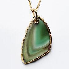Semi-Precious Natural Stone Agate Slice Pendant on Gold Chain - Green